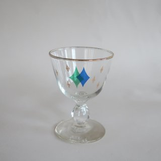 Vintage 50's Gold Atomic Design Glass Green×Blue/ビンテージ  アトミック柄 グラス 緑×青(863)