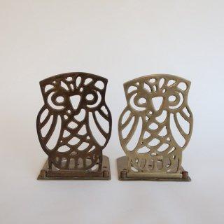vintage brass OWL bookends /ビンテージ 真鍮 フクロウ ブックエンド(865)