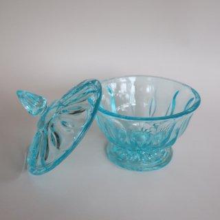 vintage aqua blue glass candy pot/ビンテージ アクアブルー ガラス キャンディポット/ 小物入れ(874)