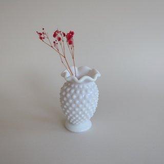 Vintage milk glass mini flower vase/ビンテージ ミルクガラス ミニ フラワーベース/一輪挿し/花瓶(875)