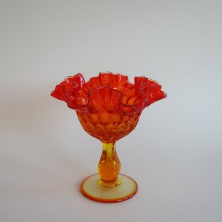 vintage Fenton Thumbprint Ruby Compote with Ruffled Edges/ビンテージ フェントン社製 コンポート(876)