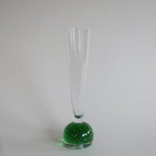 Vintage 1950s bubbles glass flower vase green/ビンテージ バブル グリーン ガラス フラワーベース/花器/一輪挿し(879)