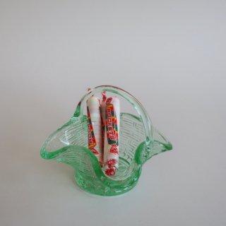 vintage mini green glass basket/ビンテージ グリーンガラス籠モチーフ 小物入れ オブジェ(888)