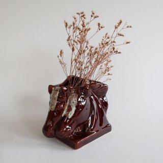Vintage Ceramic Flower Vase Horse motif/ビンテージ 陶器 馬モチーフ フラワーベース/花瓶(893)
