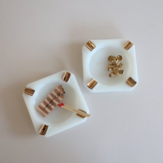 vintage milk glass ash tray/ビンテージ ミルクガラス  アッシュ トレー/小物入れ/灰皿(895)