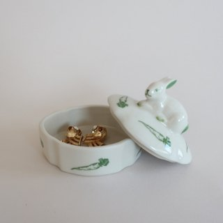 vintage Ceramic Rabbit Mini Accessory case /ビンテージ 陶器 ウサギ 小物入れ(898)