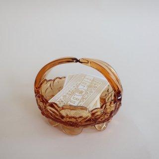 vintage amber glass flower motif basket tray/ビンテージ アンバーガラス フラワーモチーフ 小物入れ オブジェ(899)