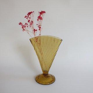Vintage amber glass Fan shaped flower vase/ビンテージ アンバー ガラス フラワーベース /花器/花瓶(901)