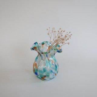 Vintage mini marble glass flower vase/ビンテージ マーブル ガラス ミニフラワーベース /花器/花瓶(912)