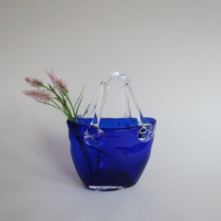 Vintage bag motif blue glass flower vase/ビンテージ バッグモチーフ ブルー ガラス フラワーベース/花器/花瓶(914)