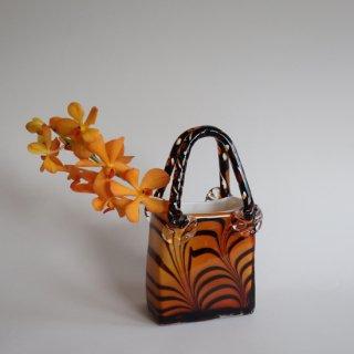 Vintage bag motif glass flower vase amber×marble/ビンテージ バッグモチーフ マーブル ガラス フラワーベース/花器/花瓶(915)