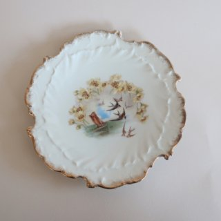 Vintage flower × swallow plate/ビンテージ 陶器 花柄×つばめ プレート/お皿(919)