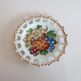 vintage ceramic plate fruits/ビンテージ 陶器 プレート/皿/絵皿/フルーツ柄(920)