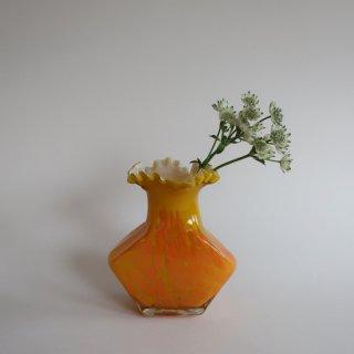 Vintage yellow×orange glass flower vase/ビンテージ イエロー×オレンジ ガラス フラワーベース/花器/花瓶(925)