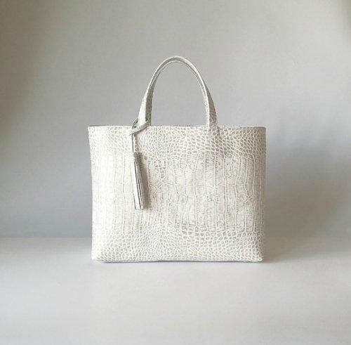 A4サイズトートbag(サイズL)☆彡ストーンホワイト・受注制作