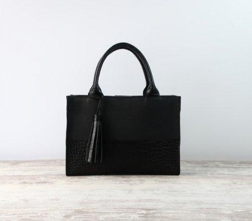 しかくトートbag(M)☆彡ブラック×ブラック・カットワークver・受注製作
