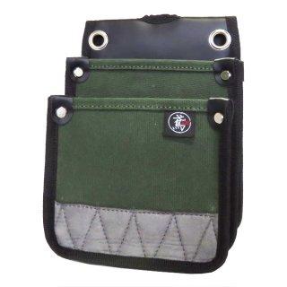 帆布 電工用腰袋 小型 国防色 防水 内側ポケット付(S) / 61-OD 鳶