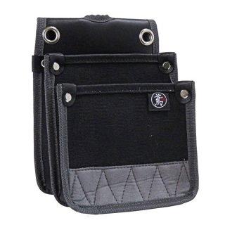 帆布 電工用腰袋 小型 ブラック 防水 内側ポケット付(S) / 61-BK 鳶