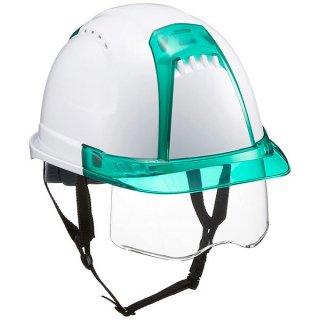 トーヨー ヘルメット シールド付 白(ひさしグリーン) No391F-G-C トーヨーセーフティ