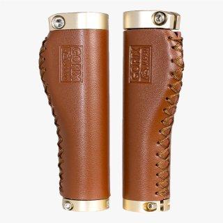 GORIX ゴリックス 自転車グリップ 革 レザー エルゴ ロックオン 茶色 サイクルグリップ GX-600