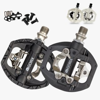GORIX ゴリックス 自転車ペダル シマノSPD対応ペダル 片面フラット GX-PM811 ビンディングペダル
