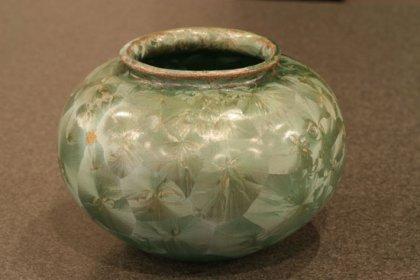 花器 花瓶 陶器 緑 アールヌーボー 結晶釉 作家もの フランス アンティーク インテリア