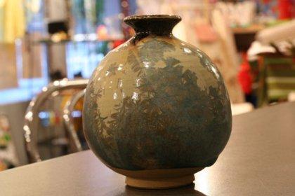 花器 花瓶 陶器 水色 アールヌーボー 結晶釉 フランス アンティーク インテリア