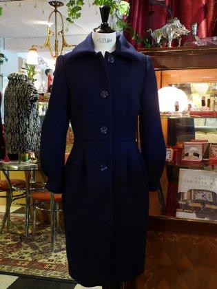 ウールコート 紺 秋冬パリレディースファッション フランス製 フレンチデザイナー