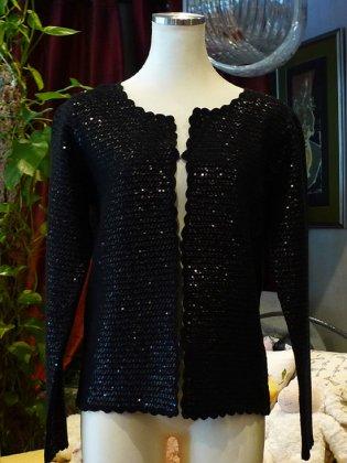 カーディガン スパンコール 黒 秋冬パリレディースファッション