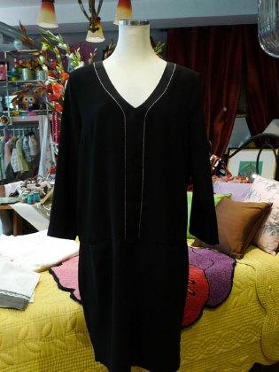 チュニックワンピース 黒 金ライン 秋冬パリレディースファッション フレンチデザイナー