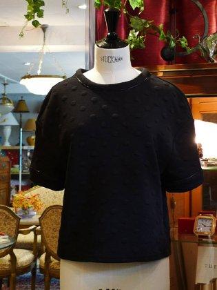 トップス 五部袖 水玉 黒 秋冬パリレディースファッション フランス製 フレンチデザイナー