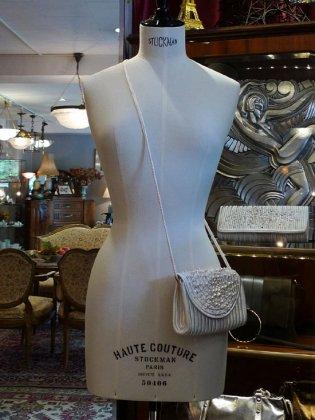 クラッチバック ポシェット 白 スワロフスキー パリレディースファッション フランス製 フレンチデザイナー