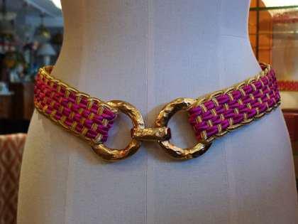 編みベルト ゴム ピンク イヴサンローラン フリーサイズ パリレディースファッション フランス製 フレンチデザイナー
