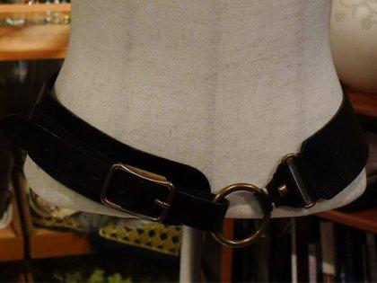ベルト 輪 リングバックル 黒 牛革 レザー パリレディースファッション フランス製