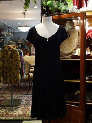 ワンピース フレンチスリーブ 黒 春夏パリレディースファッション フランス製 フレンチデザイナー