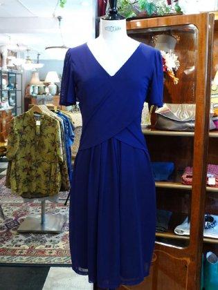 ワンピース 半袖 なす紺 袖ひらひら 春夏パリレディースファッション フランス製 フレンチデザイナー
