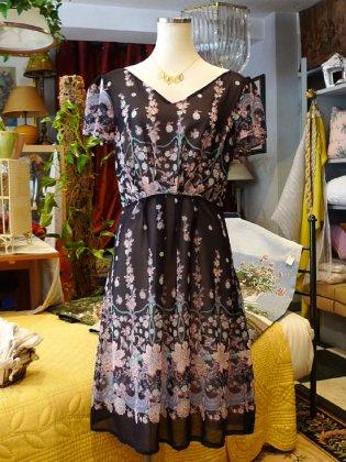 ワンピース 半袖 ピンク花柄 シルク 春夏パリレディースファッション フランス製 フレンチデザイナー