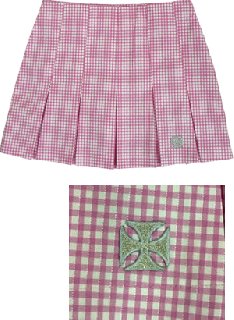 ヘルベント ローライズ・プリーツスカート(PSH-01)ピンク/ホワイト受注生産の商品画像