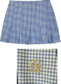 ヘルベント ローライズ・プリーツスカート(PSH-02)ライトブルー/ホワイト受注生産の商品画像