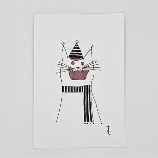 ねこマフラー 白×黒