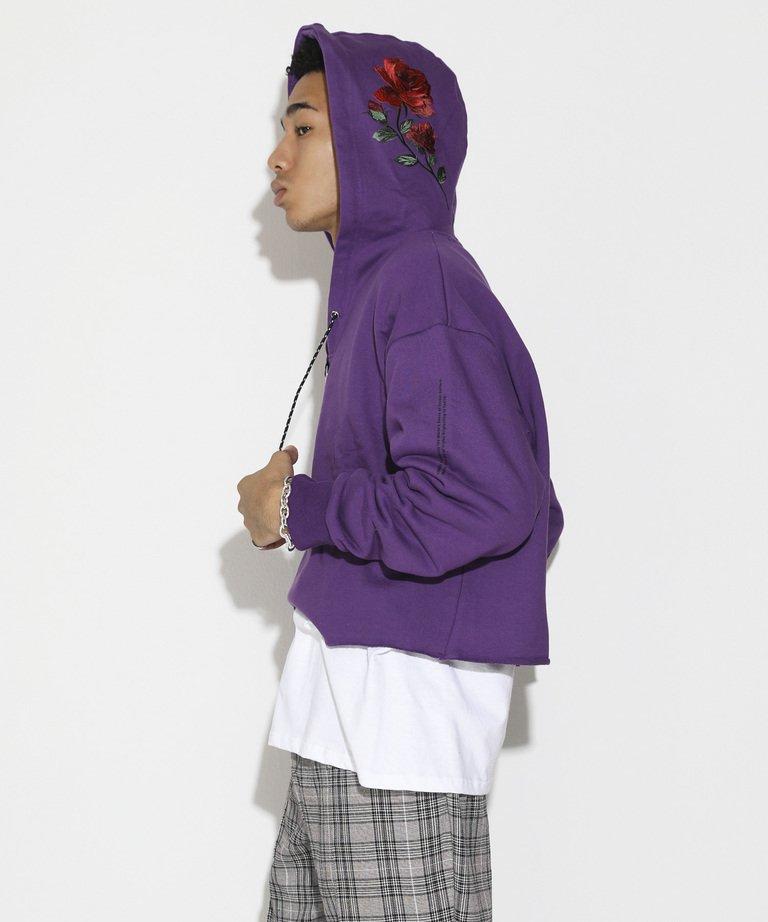 【決算セール!!30%OFF】LEGENDA Short Length Rose Embroidery Hoodie