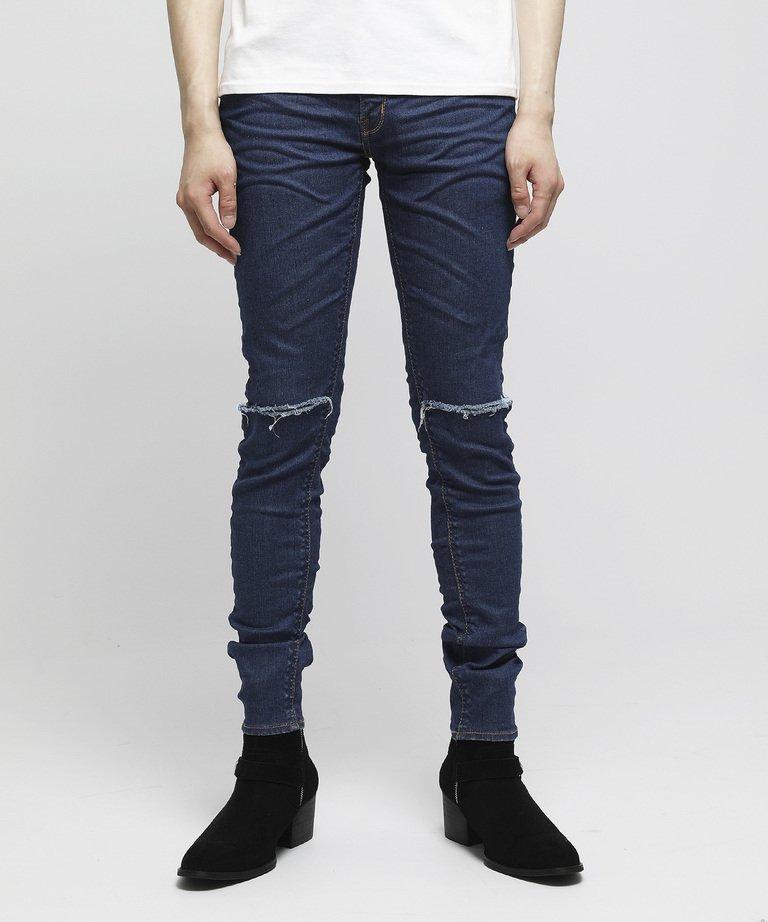 VANQUISH Solid Knee crush stretch Skinny Denim pants