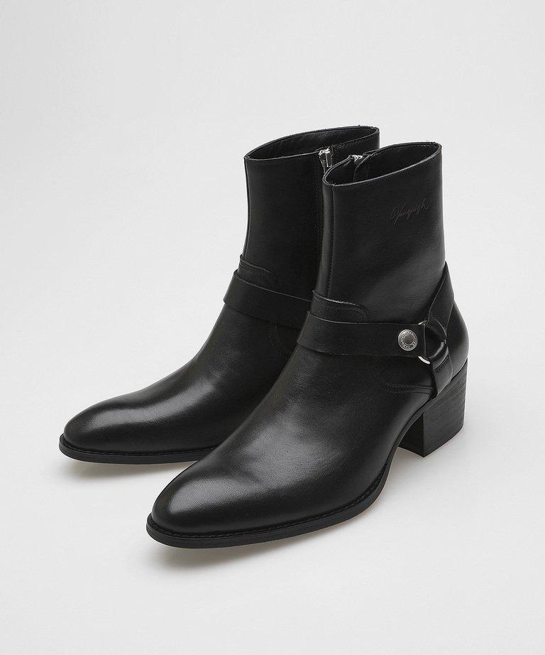 VANQUISH Cow Leather side zip ring heel Boots