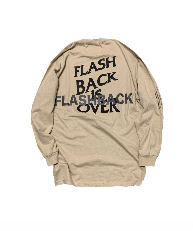 【FLASHBACK最新作】Reflector ''BACK'' OVERSIZE LONG T-Shirts BEG