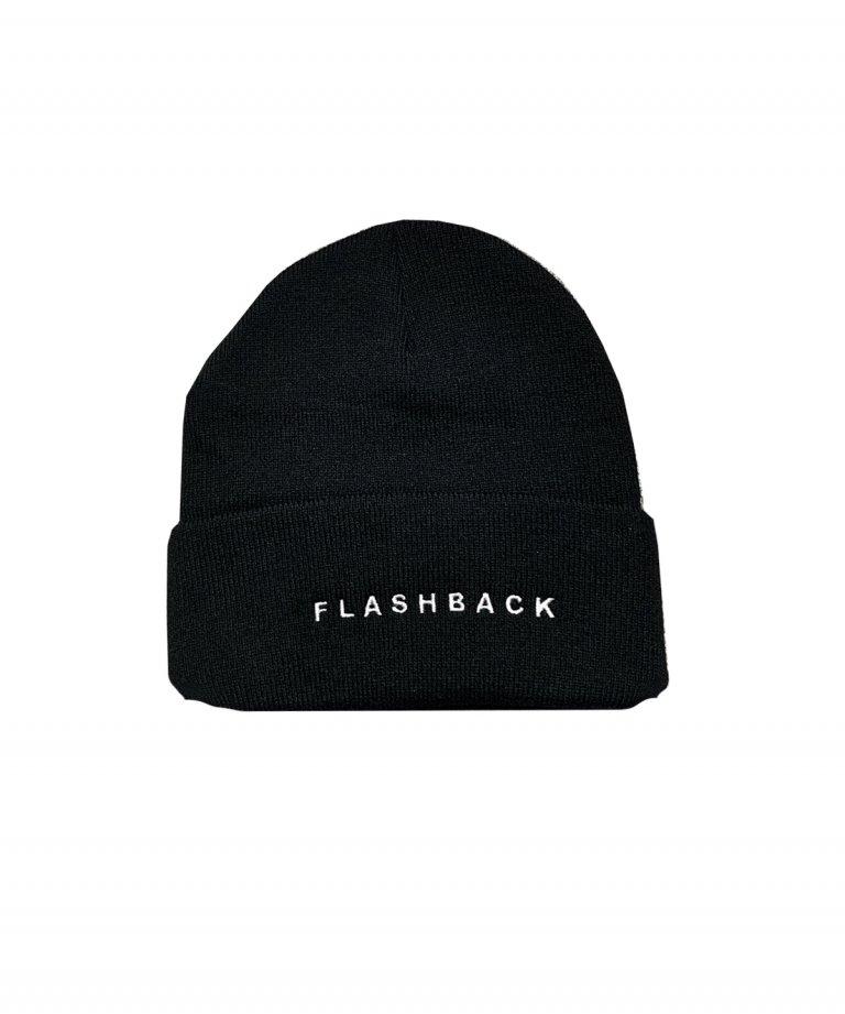 FLASHBACK Logo Knit Cap BLK×WHT