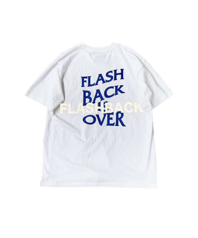 【FLASHBACK最新作】''FLASHBACK is OVER'' Reflectior OVERSIZE  T-Shirts WHT×BLU
