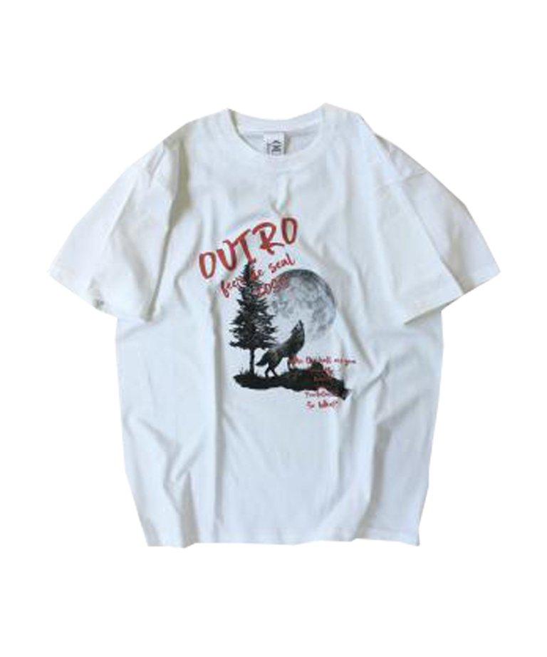 OUTRO-feer de seal-  OUTRO Lone Wolf Oversize Tee WHT
