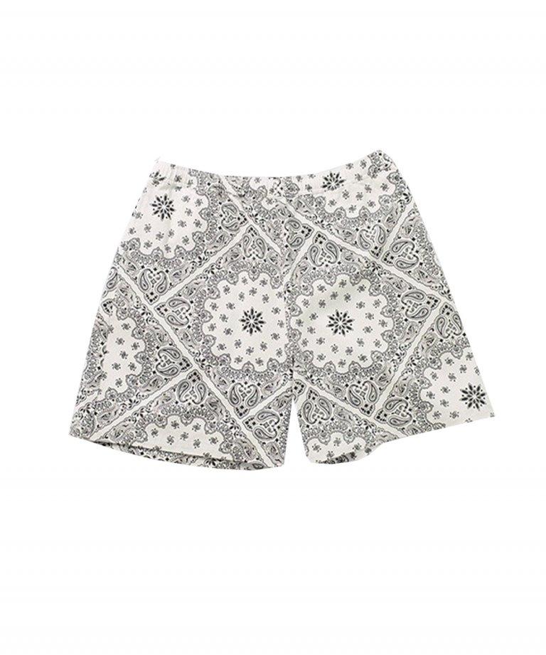【FLASHBACK】 Paisley LOOSE Fit Shorts WHT