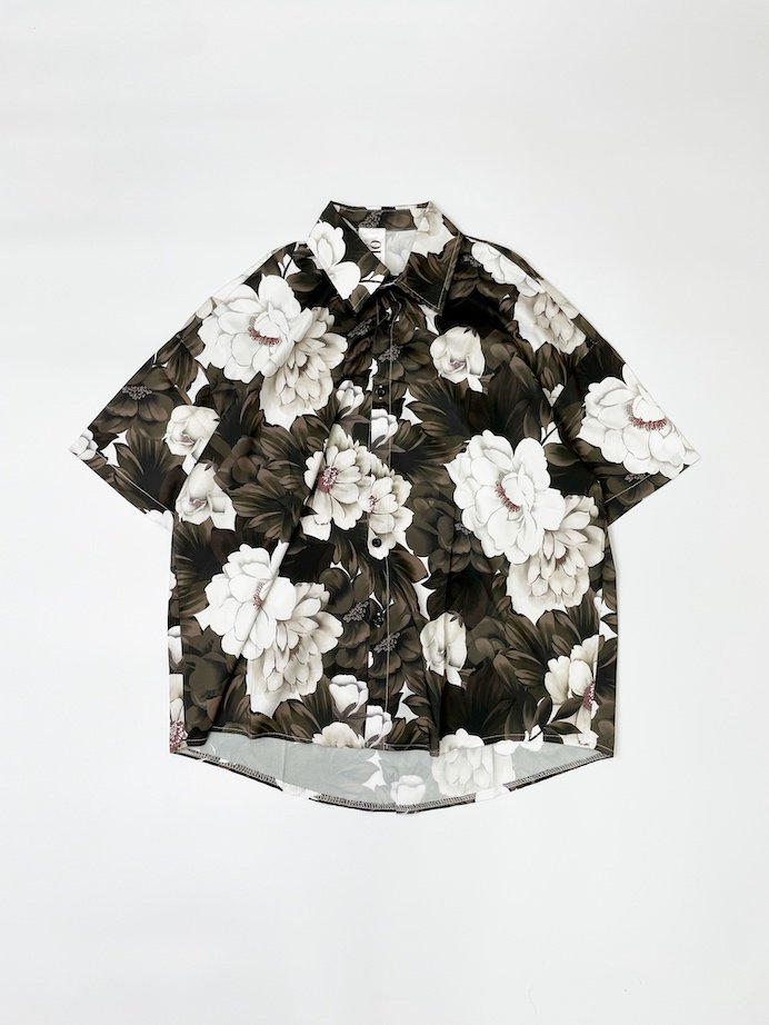 OUTRO-feer de seal- Half Sleeve OverSize Shirts BlackFlower