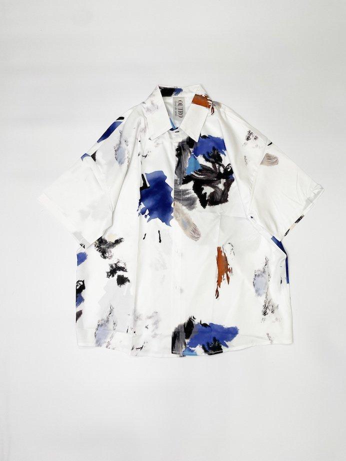 OUTRO-feer de seal- Half Sleeve OverSize Shirts WhiteFlower